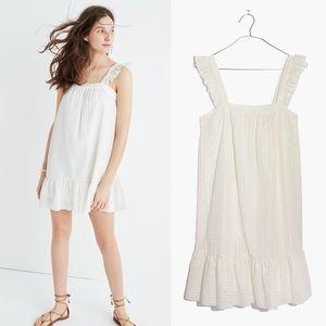 [Madewell] NWT Metallic Stripe Ruffle Dress White
